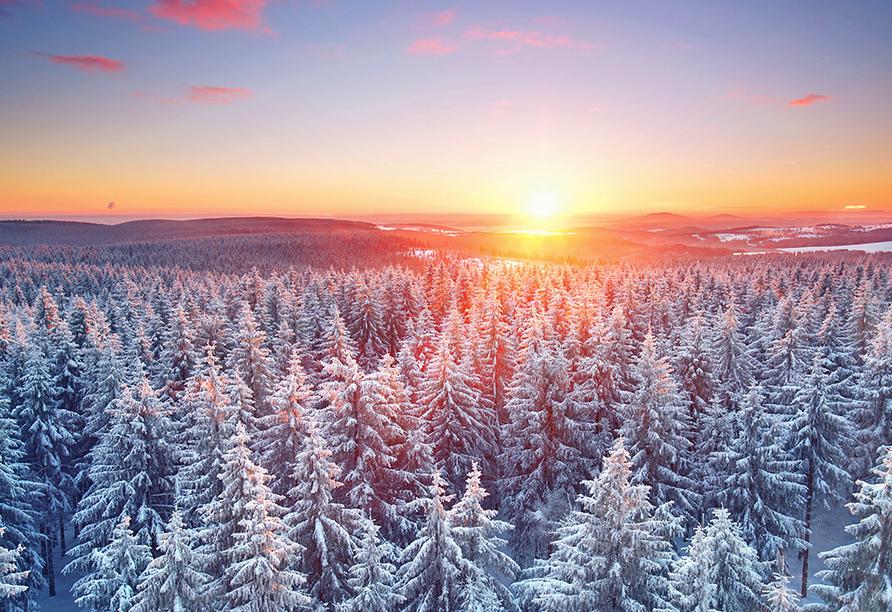 Waldhotel Hubertus, Sonnenuntergang über dem Thüringer Wald
