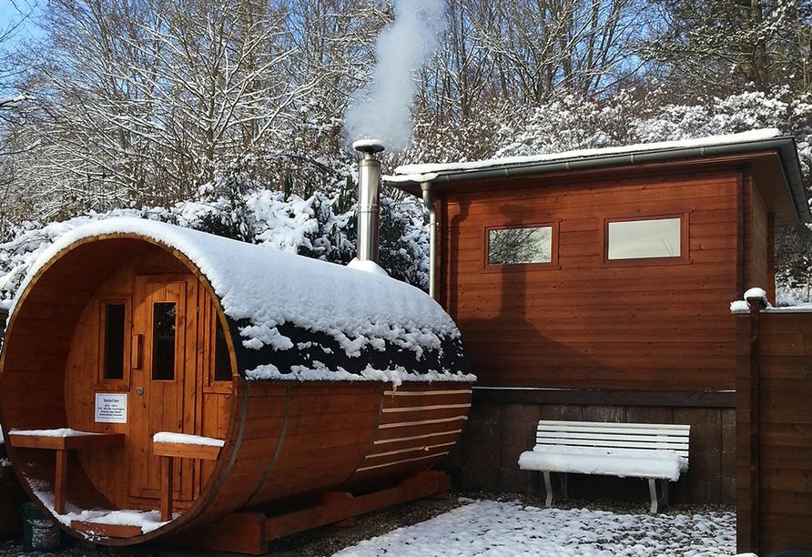 Vitalhotel König am Park in Bad Mergentheim im Tal der Tauber, Sauna im Winter