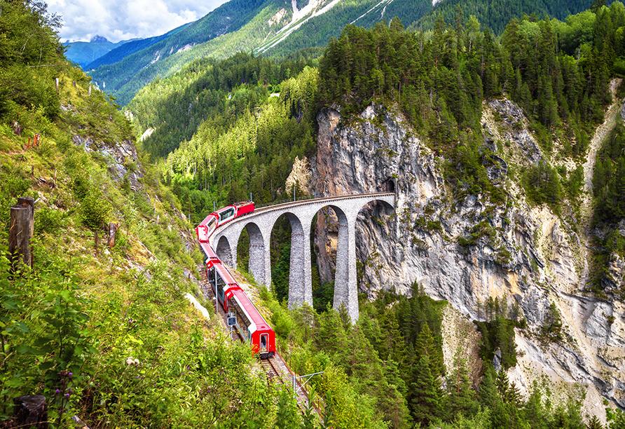 T3 Roulette Flims, Schweiz, Berninaexpress, Landwasser Viadukt