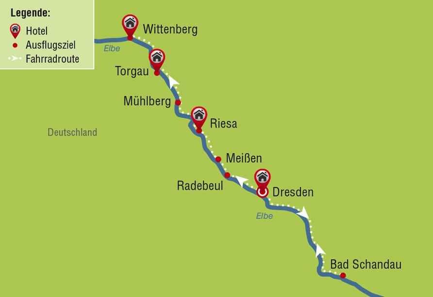 Elberadweg, Karte