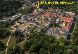 Kurhaus Sevilla in Franzensbad, Böhmisches Bäderdreieck, Tschechien, Lage