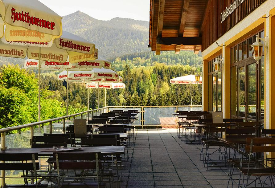 Panoramahotel Schwarzeck in Lohberg, Terrasse