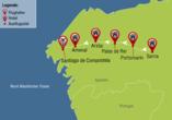 Reisezielkarte Pilgern auf dem Jakobsweg nach Santiago de Compostela