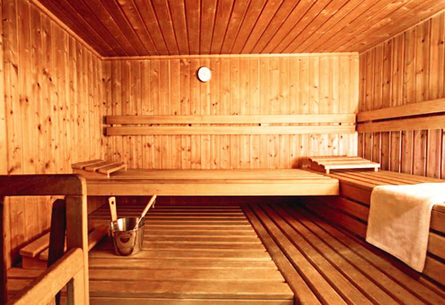 Entspannung finden Sie in der Sauna.