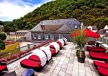 Auf der gemütlichen Dachterrasse des Häcker's Fürstenhof haben Sie einen tollen Blick über den Ort.