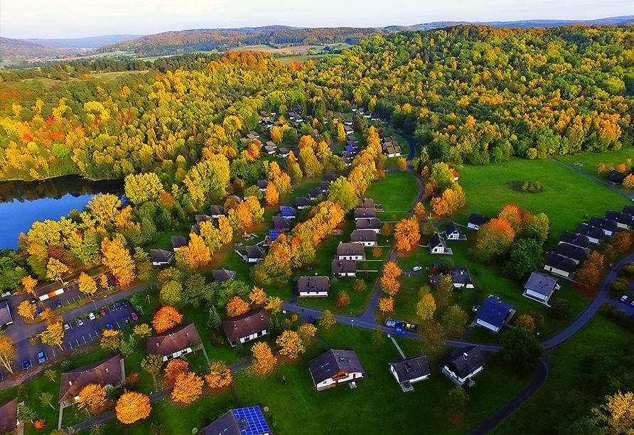 Die Ferienhäuser im Ferienwohnpark Silbersee liegen direkt am See.