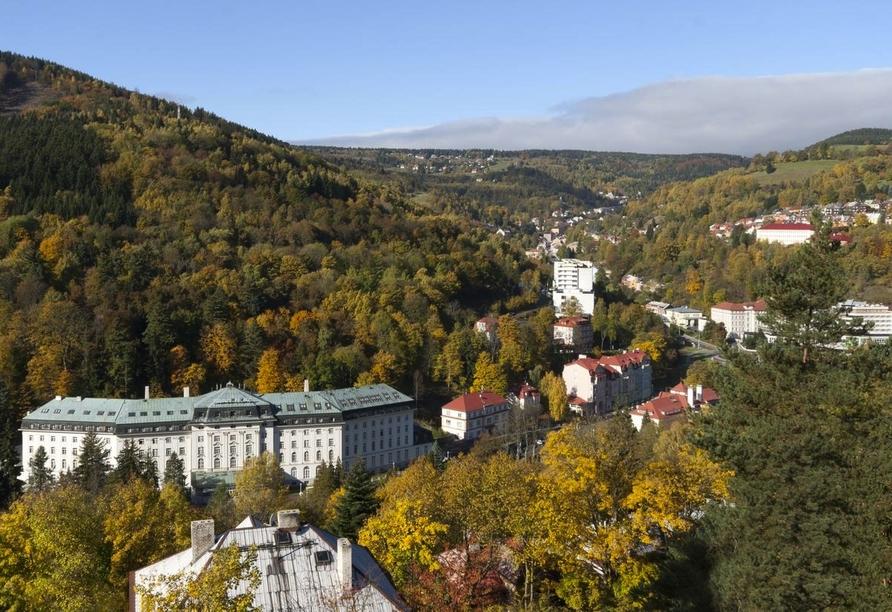 Hotel Panorama in St. Joachimsthal, Ausblick auf St. Joachimsthal