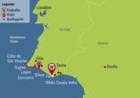 Reisezielkarte für die Standort-Rundreise an der Algarve in Portugal.