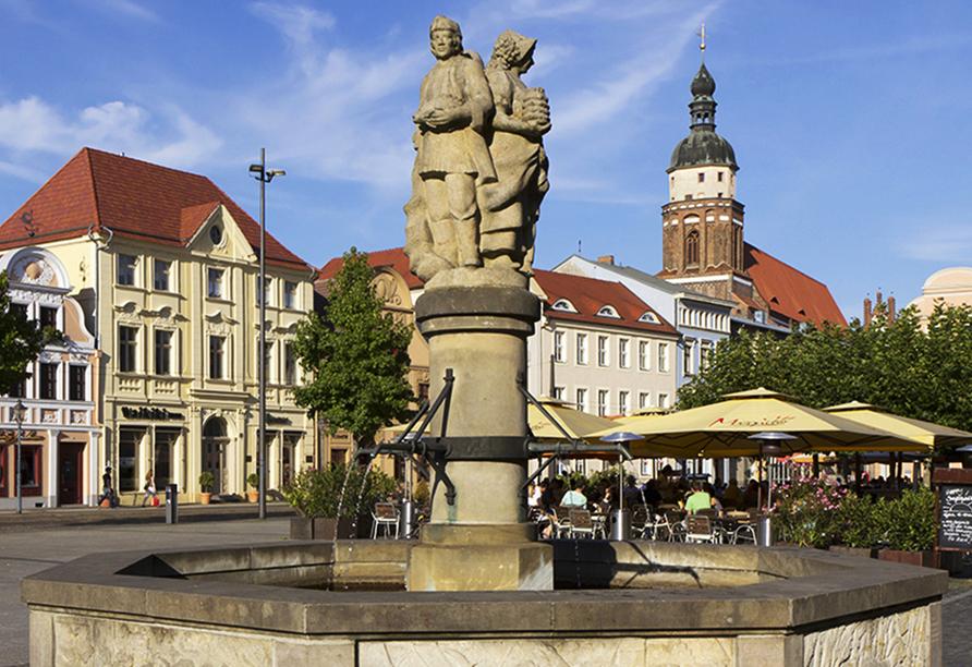 Bestaunen Sie den Brunnen am alten Markt in Cottbus.