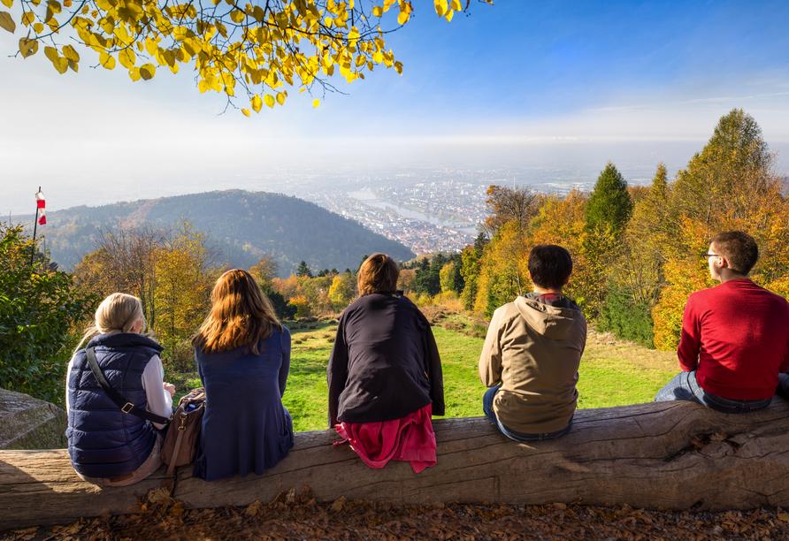 Blick vom Königstuhl auf Heidelberg und die Rheinebene.