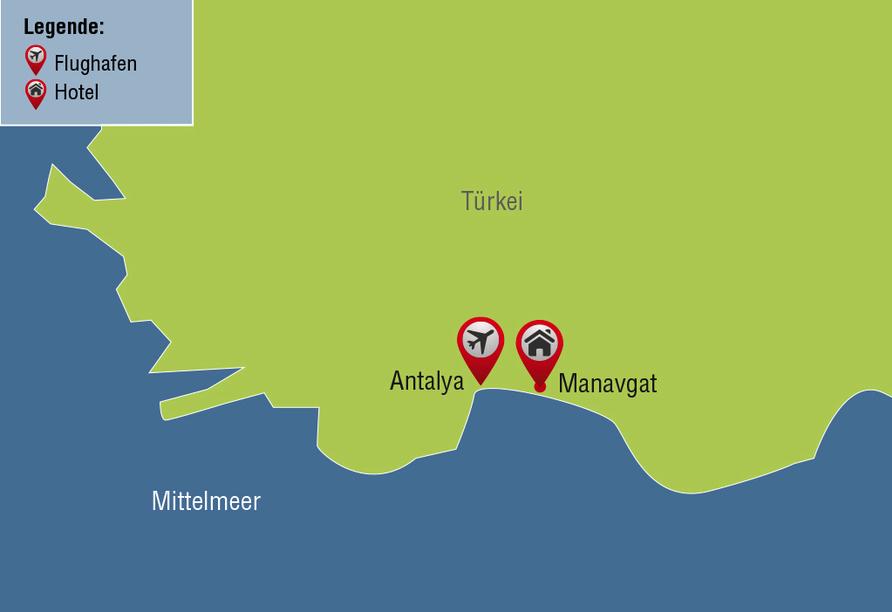 Ihre Reisezielkarte für den Langzeitbadeurlaub in der Türkei in Manavgat.
