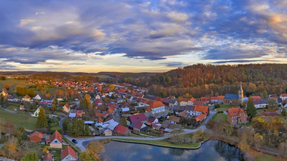 Panoramaaufnahme aus der Luft vom Harzgeroder Ortsteil Güntersberge.