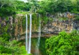 Die Chamarel Wasserfälle stürzen etwa 100 Meter in die Tiefe.