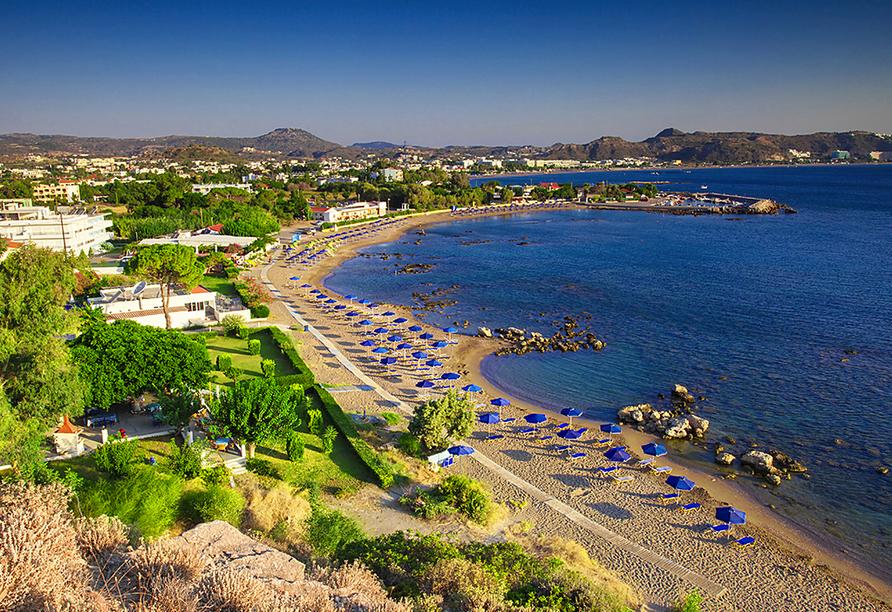Am schöne Faliraki Strand können Sie wunderbar entspannen.
