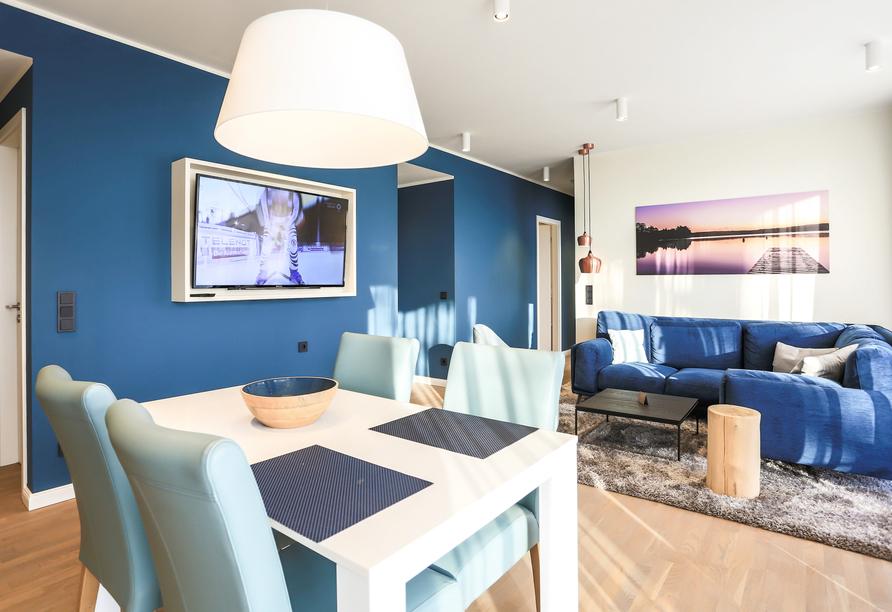 Beispiel für den Essbereich in der Fortuna Suite Landseite.
