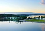 Panoramaaufnahme vom Maremüritz Yachthafen Resort & Spa