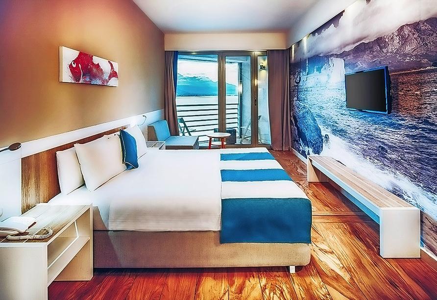 Beispiel eines Doppelzimmers mit Meerblick vom Hotel Bijela Delfin.