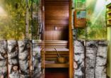 Die Birken-Sauna bringt Sie garantiert ins Schwitzen.