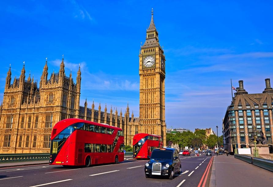 Erkunden Sie die bekannten Sehenswürdigkeiten der Hauptstadt Großbritanniens.