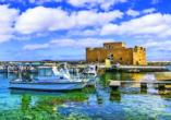 Bei einem Besuch in Paphos statten Sie auch der mittelalterlichen Burg einen Besuch ab.