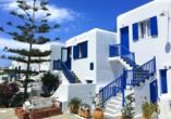 Mykonos-Stadt verkörpert mit seinen weißen Häusern mit blauen Fenstern das typische Bild Griechenlands.