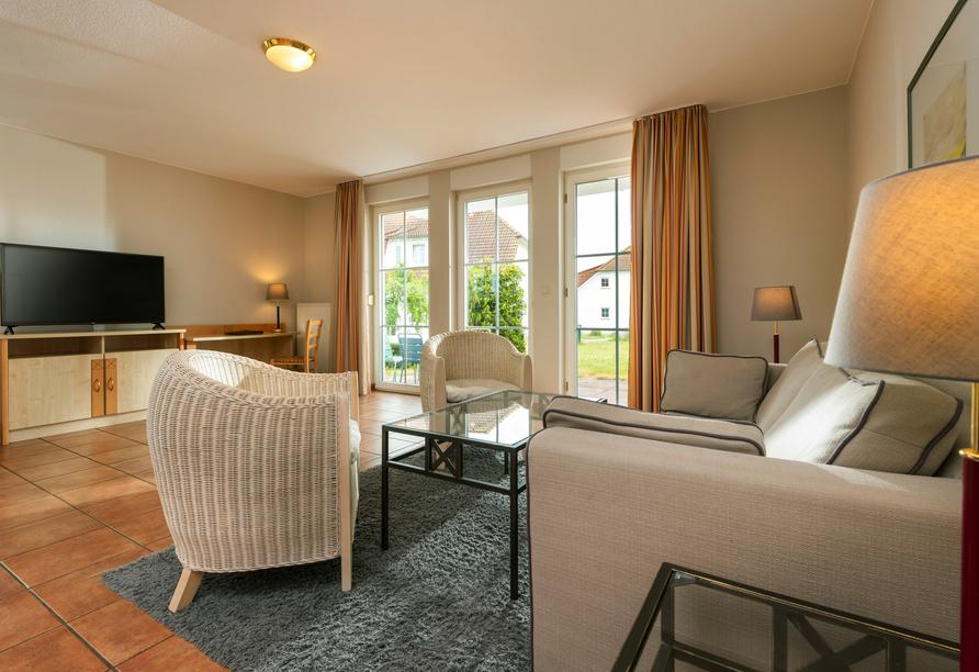 Beispiel für den Wohnbereich im 2-Raum-Appartement.