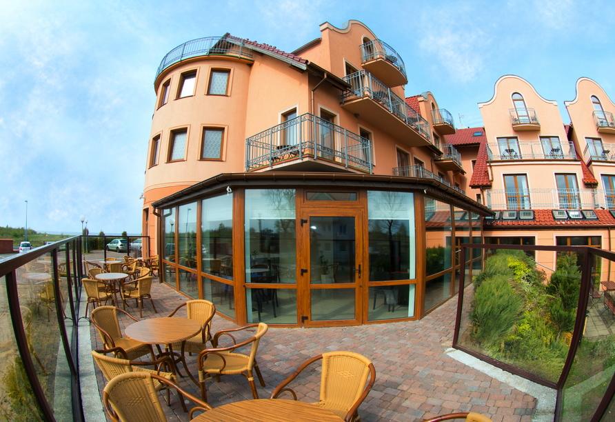 Hotel Panorama Spa, in Rewal, Terrasse
