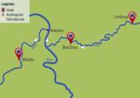 Der Reiseverlauf an drei der schönsten Flüssen Deutschlands: Lahn, Rhein und Mosel.