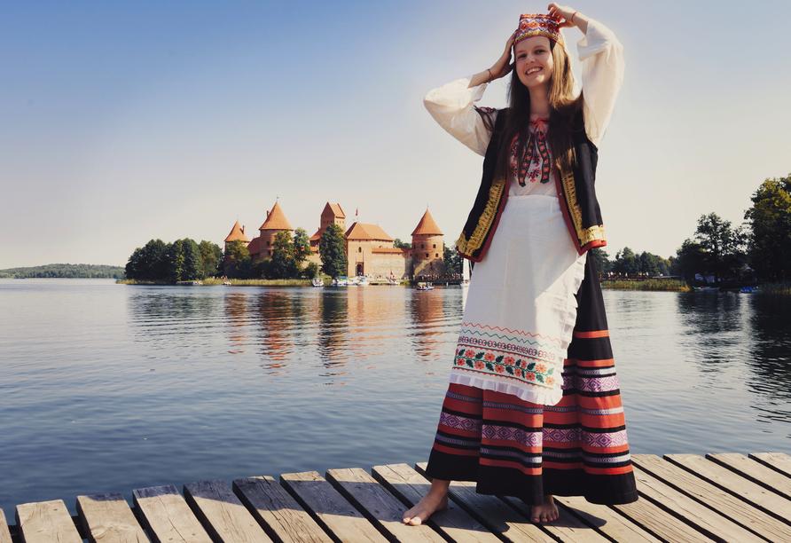Blick auf die wunderschöne gotische Verteidigungsburg Trakai