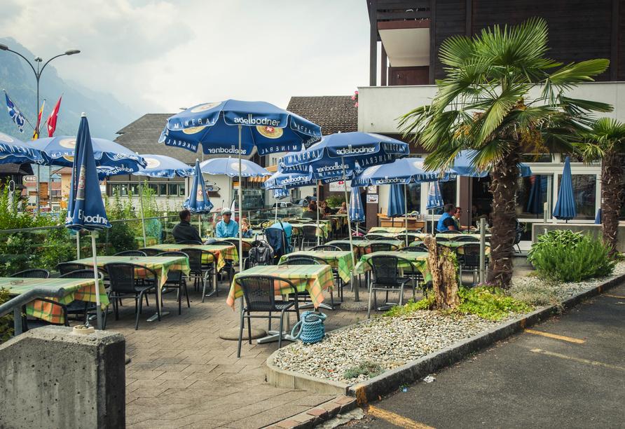 Hotel Weisses Kreuz in Brienz, Terrasse