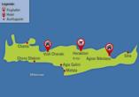 Mietwagen-Rundreise Kreta, Reisezielkarte