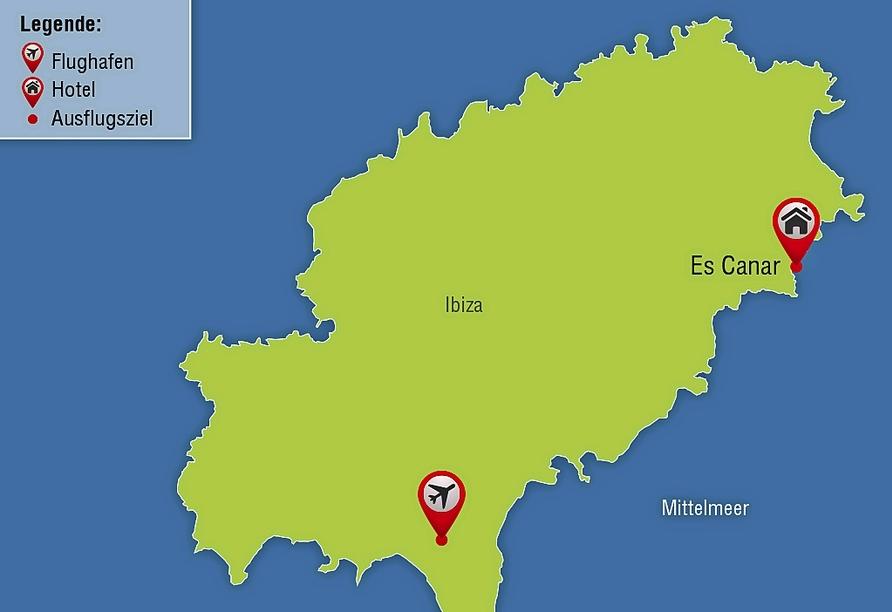 Hotel Alua Miami Ibiza auf Ibiza in Es Canar, Reisezielkarte