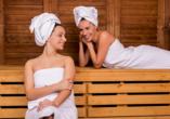 Genießen Sie wohltuende Wellnessmomente in den Saunen des Hotels.