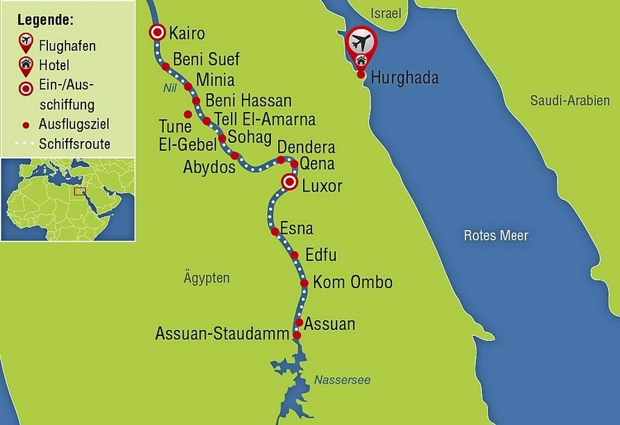 Entdeckerreise Nil, Reisezielkarte
