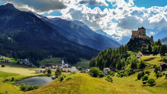Hotel Villa Silvana, Vulpera, Schweiz, Luftaufnahme Vulpera