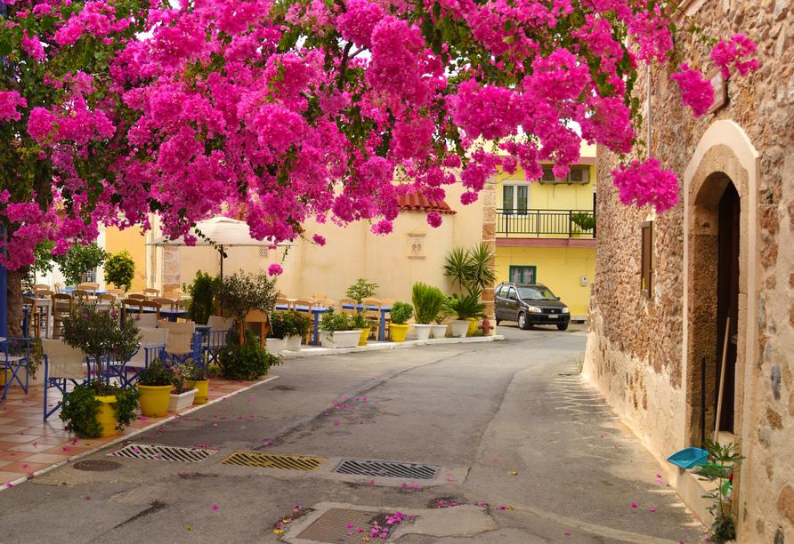 Die Altstadt von Malia weiß mit schmalen Gässchen zu begeistern.