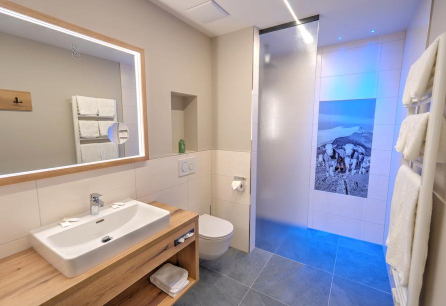 Beispiel eines Badezimmers im Hotel Der Siegeler