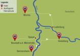 Radrundreise Rheinromantik, Reisezielkarte