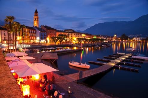 Hotel Polo in Ascona, Schweiz, Abendstunde in Ascona