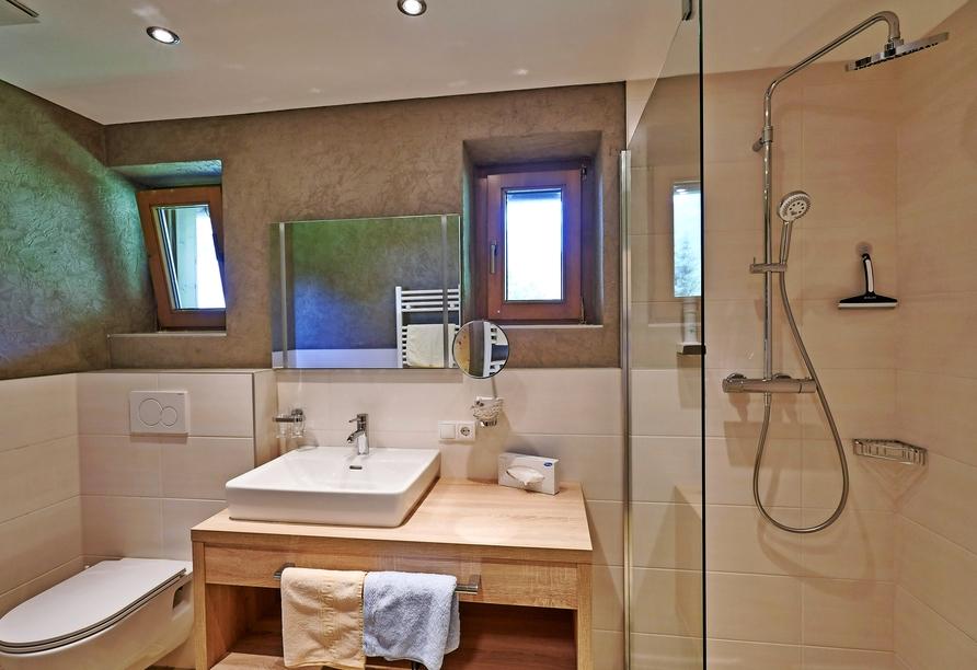 Hotel Jägerhof in Oetz, Beispiel eines Badezimmers
