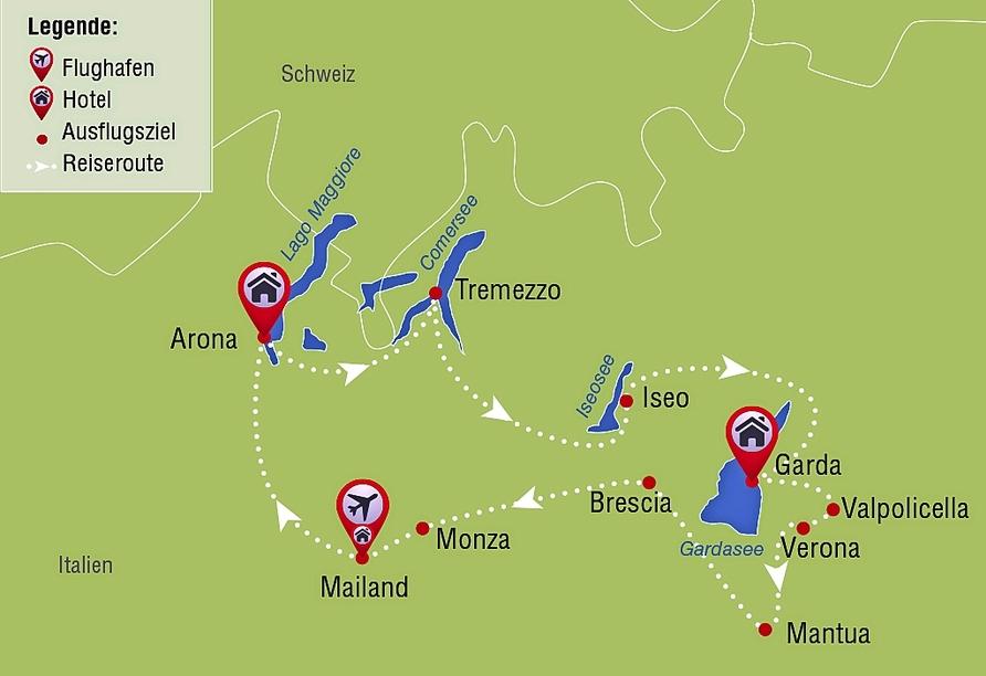 Mietwagenrundreise Norditalien, Reisezielkarte