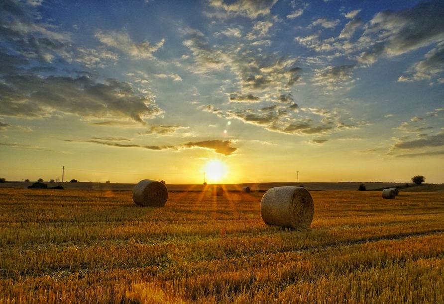 Felder, Heuballen, Sonnenuntergang. Ländliche Idylle wie aus dem Bilderbuch.
