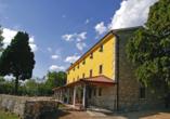 Villa Calussovo in Labin, Kroatien, Außenansicht