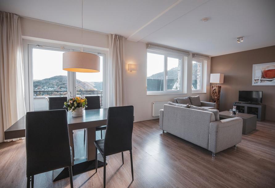 Beispiel für den Wohnbereich im Appartement Fleesensee Luxus.