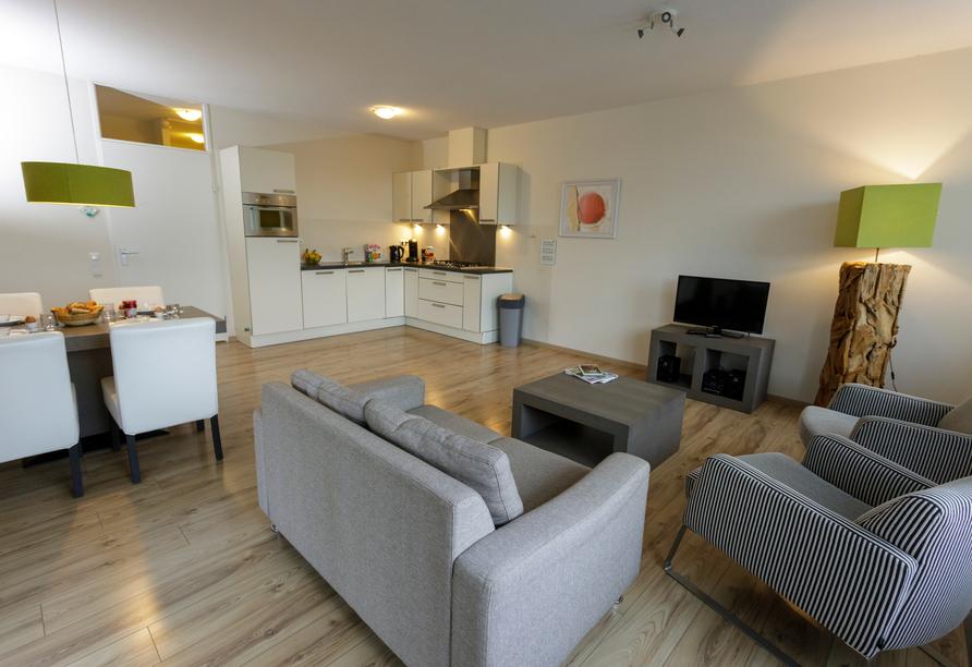 Beispiel für den Wohnbereich im Appartement Ammersee Komfort.