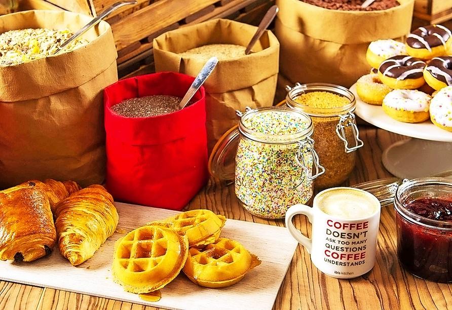 Am Morgen erwartet Sie ein leckeres Frühstücksbuffet im Hotel.