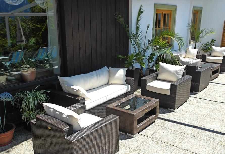 Hotel Habhof in Mösern bei Seefeld in Tirol, Terrasse