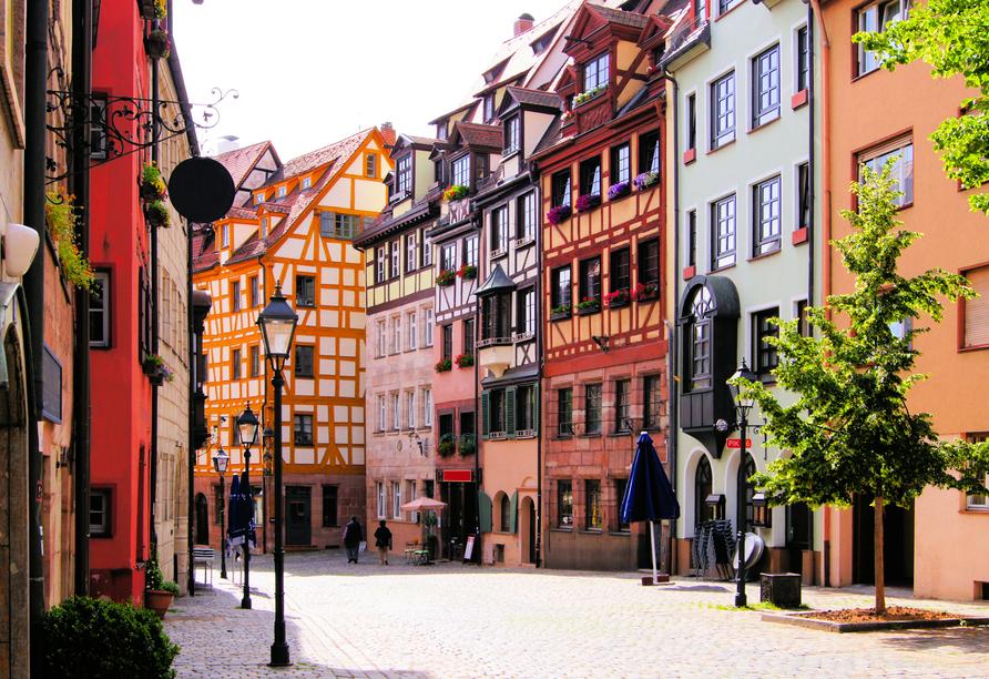 Die Nürnberger Altstadt begeistert mit schönen Fachwerkhäusern.