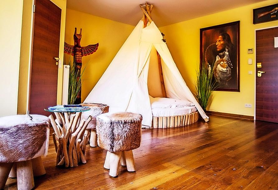Beispiel eines Themen-Doppelzimmers (hier: Winnetou-Zimmer) im Landhotel Beverland