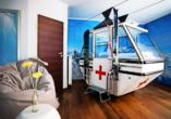 Beispiel eines Themen-Doppelzimmers (hier: Ski-Zimmer) im Landhotel Beverland